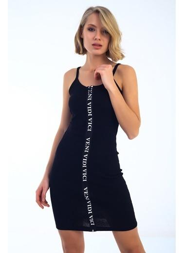 Emjey Boydan Baskılı Fermuarlı Elbise Siyah